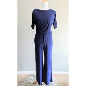 Hot in Hollywood Solid Dolman Jumpsuit blue XS